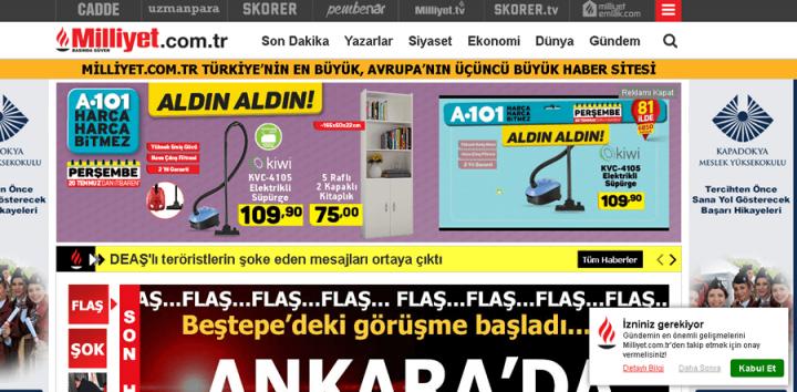 Milliyet Sitesi Alışveriş Yönlendirmeleri Ve Tanıtım Reklamları